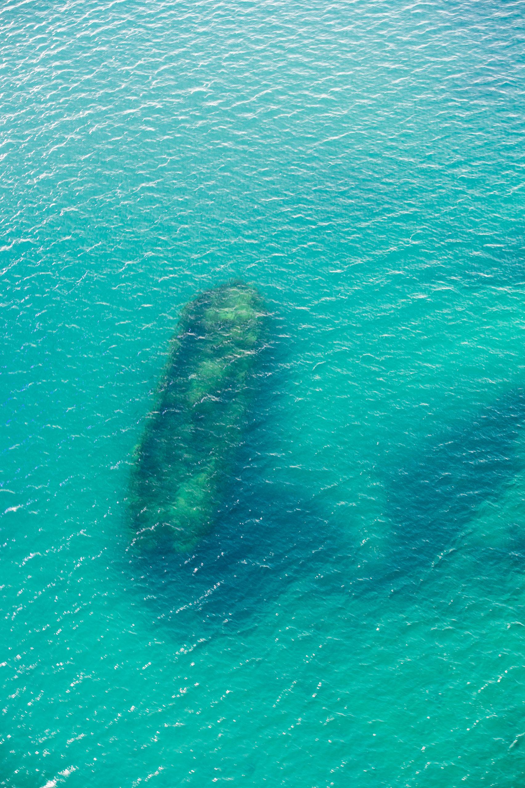 Le HMS Erebus vu de la surface de l'eau. / HMS Erebus, seen from above the water. © Parcs Canada / Thierry Boyer